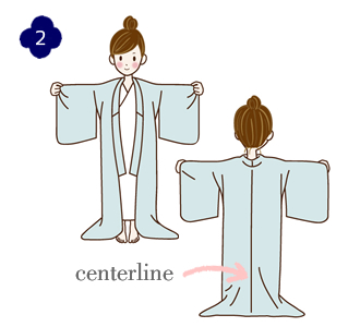 How to wear a yukata, step 2