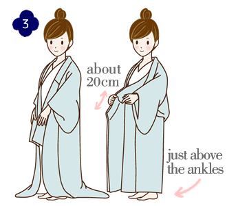How to wear a yukata, step 3