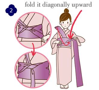 How to attach a yukata and kimono belt Step 2