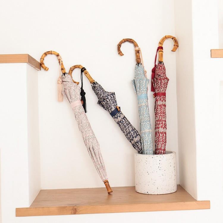 [utatane] 日傘 完全遮光 晴雨兼用 スライドショート 親骨47cm 更紗柄 全3色(2513613201)