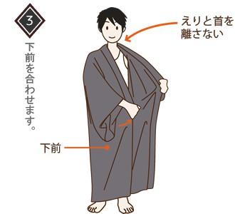 男性(メンズ)浴衣の着付け・着方 手順3