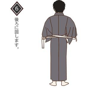 男性(メンズ)浴衣の着付け・着方 手順6