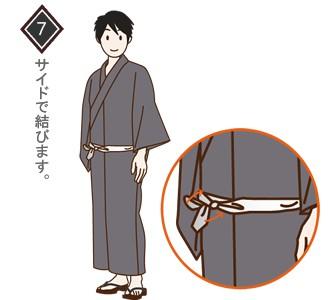 男性(メンズ)浴衣の着付け・着方 手順7