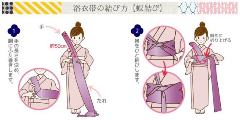 浴衣帯の結び方(蝶結び)