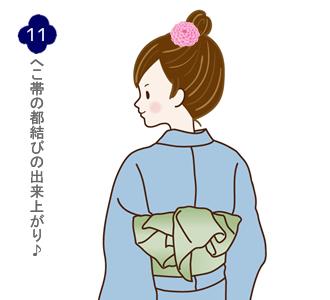 帯結び(兵児帯都結び)手順11