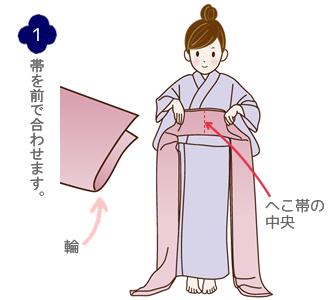 帯結び(兵児帯リボン結び)手順1