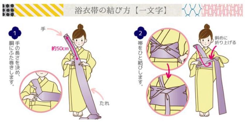 浴衣帯の結び方(一文字結び)