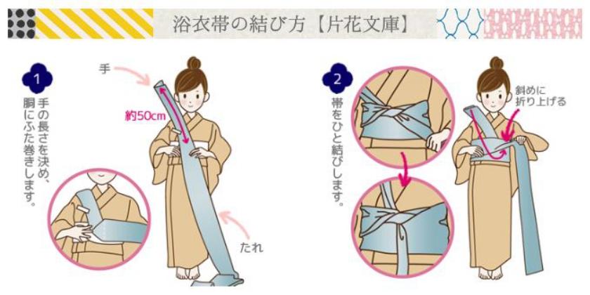 浴衣帯の結び方(片花文庫結び)